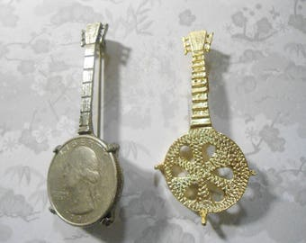 1 Goldplated and 1 Silverplated Quarter Holder Banjo Pins