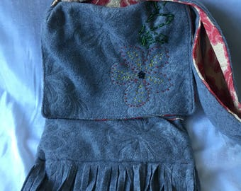 Grey Upcycled Felt Scarf Bag