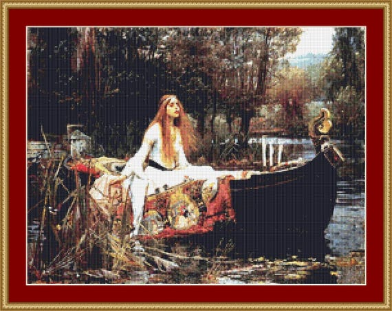 The Lady Of Shallot Cross Stitch Pattern /Digital PDF Files /Instant downloadable