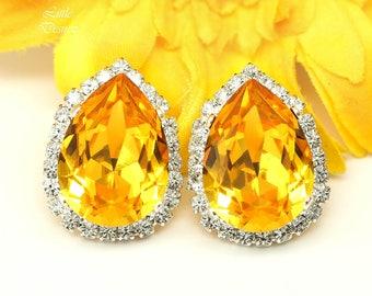 Yellow Earrings Stud Earrings Swarovski Teardrop Crystal Sunflower Earring Large Post Earrings Bridesmaid Stud Earrings Cubic Zirconia LT31S