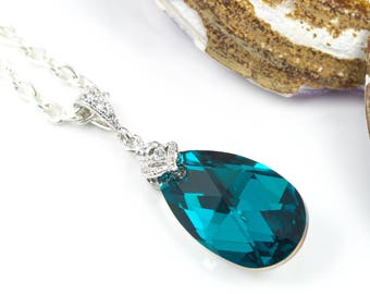 Teal Necklace Teal Green Pendant Necklace Sparkly Crystal Necklace Bridesmaid Gift Swarovski Jewelry Blue Zircon Comet Argent Light BZ32N