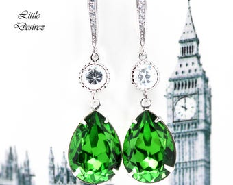 Green Bridal Earrings Swarovski Teardrop Earrings Bright Green Earrings Cubic Zirconia Bridesmaids Gifts Wedding Earrings Shamrock FG31HC