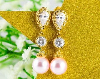 Pink & Gold Pearl Earrings Blush Pink Earrings Pearl Wedding Earrings Bridesmaid Earrings Dangle Earrings Drop Earrings CZ Earrings P44PC