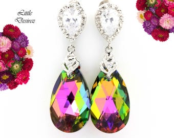 Pink and Green Teardrop Earrings Swarovski Vitrail Medium Pear Crystal Colorful Sparkly Jewelry Bridesmaid Jewelry Cubic Zirconia VM32P