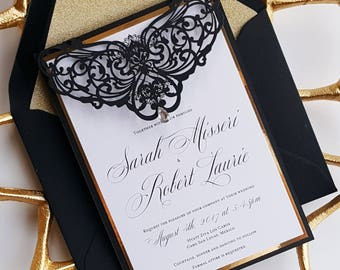 monogram wedding invitations black gold invite etsy 6001