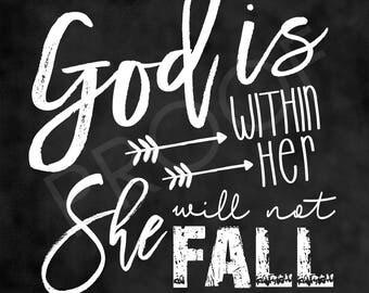 Scripture Art - Psalm 46:5 ~ Chalkboard Style