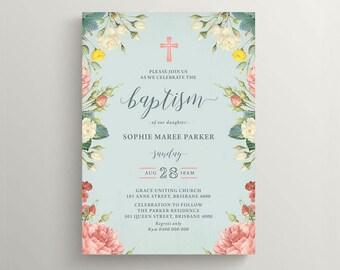 Girl Christening Invitation \ Girl Baptism Invitation \ Printable Invitation \ Vintage Floral Invitation (CR67)