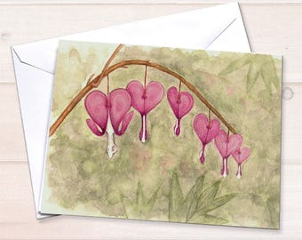 Bleeding Hearts notecards, Watercolor stationery, floral notecards, gardening stationery, fuchsia flowers, sympathy card, stationery set