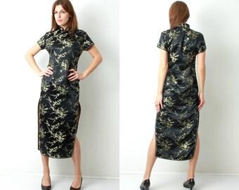 Cheongsam Dress / China Dress / Chinese Dress / Asian Dress / Black Floral Dress / Silk Dress / Traditional Dress / Dress L / Ceasar Dress