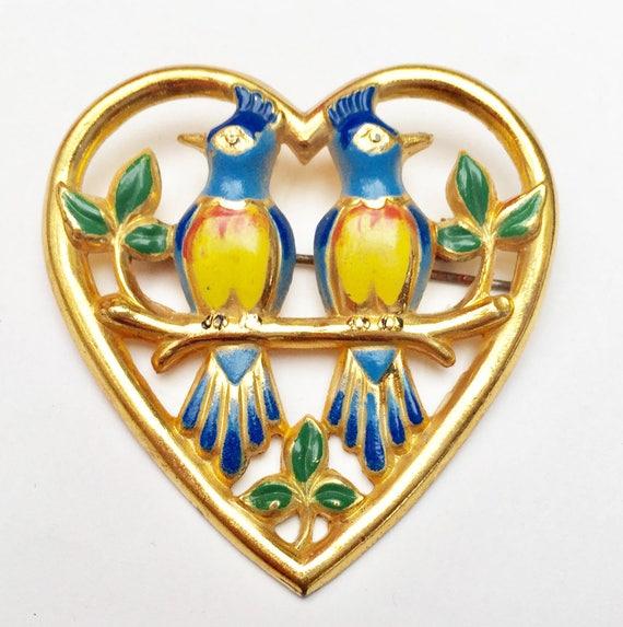 Bird Heart Brooch - Enamel gold - Love Birds - doves - fiqurine  pin