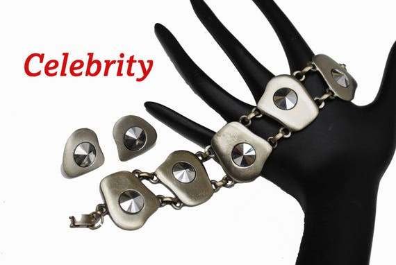 Celebrity Link Bracelet Earring Set  - Grey  Gun Metal silver tone modern design -Marcasite - clip on earrings