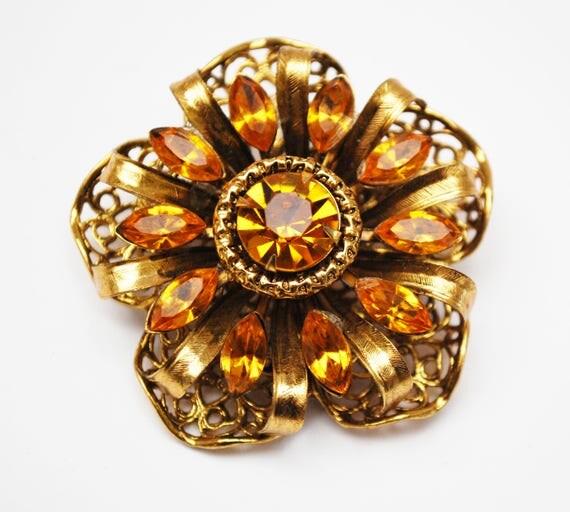 Rhinestone  Flower Brooch  - Amber Orange  Crystal - Gold Filigree  - Floral pin