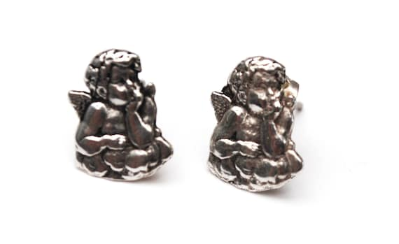 sterling Cherub Earrings -  baby winged Angels - Small silver stud pierced earring