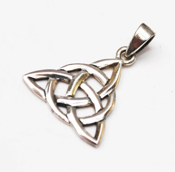 Sterling Celtic Trinity  Pendant - Silver open work  Irish Triangle   Knott cross Charm