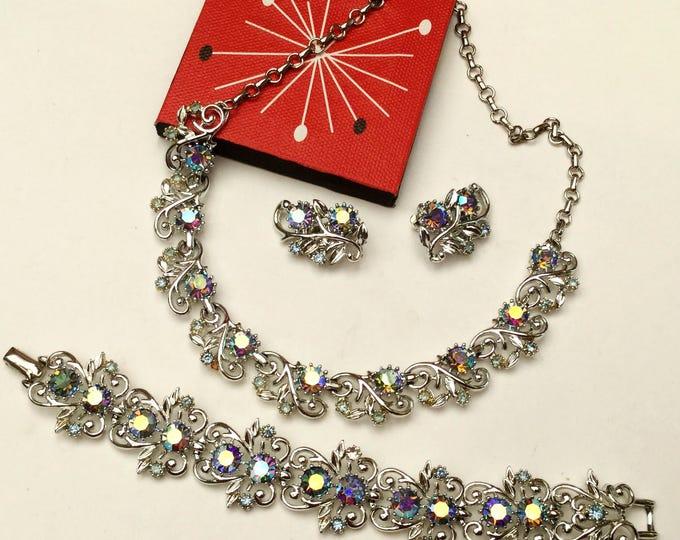 Rhinestone necklace Bracelet and earring parure set - signed Coro - Mid century - Aurora borealis crystals Vintage jewelry set