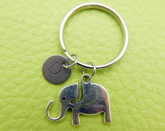 Elephant stainless steel Keyring initial keychain