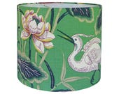 Lotus Garden Lamp Shade, Custom Lamp Shade Green, Floral Lamp Shade Bird, Chinoiserie Lamp Shade, Table Lampshade, Multiple Sizes Available