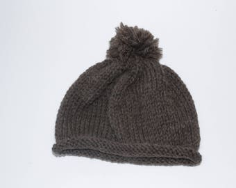 100% Wool Baby hat with pompom