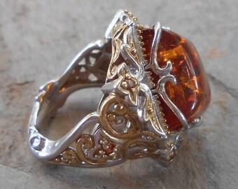 Michael Valitutti Sterling Silver 18k Gold Amber Gemstone Ring