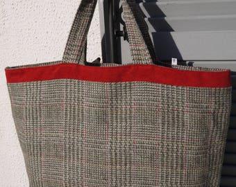 Very british and velvet wool tote bag - waterproof inside - single model