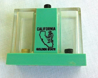 Vintage Shakers - Salt and Pepper Shakers - Mechanical - California Souvenir - Celadon Green and Black - Retro - Push Button Dispensers