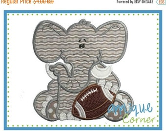 40% OFF INSTANT DOWNLOAD Elephant Baby Boy Football applique digital design for embroidery machine by Applique Corner