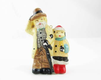 A Hand-Painted Bisque Ornament - Man With Beard and Small Child - Porcelain Bisque Doll - 1920s Figures - Fully Painted - Multiple Colors