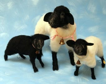suffolk sheep ewe and lambs needle felted from pure wool
