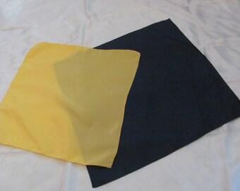 Lot of 2 Mens Yellow Dark Blue Silk Pocket Squares Scarves #2883