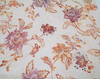 Vintage BoHo Chic Tablecloth Purple Peach Orange Rectangle Floral Polyester