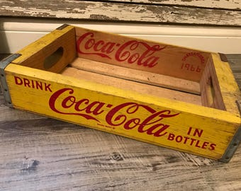 Vintage 1966 Yellow Drink Coca Cola in Bottles Enjoy Coke Wood Soda Crate