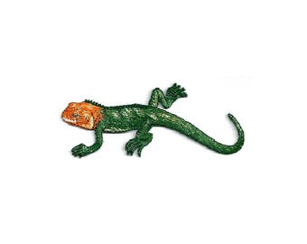Lizard - Orange Headed - Reptile - Embroidered Iron On Applique Patch