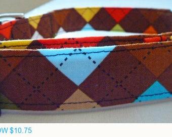 "Sale - 50% Off Boy Dog Collar - Argyle Dog Collar - Multi Argyle Brown, Blue, Orange & Yellow - ""Preston""-"
