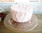 Sale Pink Glass Cake Plate 10 Inch With Flowers, Low Footed/ Depression Glass/ Vintage Wedding Cake Server/ Dessert Plate/ Budget Bride