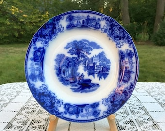 17% OFF SALE Antique Flow Blue Dinner Plate 10.5 in 'Shanghai' by WH Grindley England 1910  Transferware Collectible  Blue & White Vg Cond