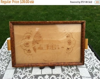 Save 15% OFF Rustic Swedish Tray/Glass Top Tray/Handmade Wood Tray/ 10 x 16,  Scandinavian Serving Tray with Carving of House, Asplunda, Rus