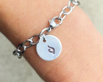 Eating Disorder Awareness Handstamped Charm on Hypoallergenic NonTarnish Stainless Steel Chain. 50% of profits donated to Suicide Prevention