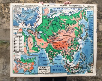"Vintage ""Asia"" 50's - J.Brunhes P. Deffontaines - school geography school map"