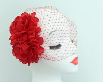 Birdcage Bandeau Flower Bridal Veil available in black, white, ivory, and red.