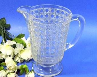 Antique EAPG Pressed Glass Pitcher Cane Pattern