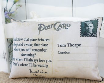 Goodbye, Bereavement Postcard Customizable Pillow. Memorial gift, Memoriam keepsake, Goodbye Gift, Missing you Gift