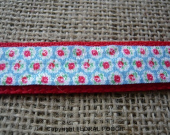 Dog Collar and Leash by Floral Pooch - 003 Cath Kidston Style Vintage Blue