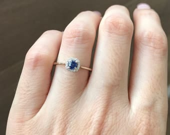 Blue Sapphire Engagement Ring- Dainty Sapphire Promise Ring- Halo Sapphire Anniversary Ring- Simple Sapphire Ring- September Birthstone Ring