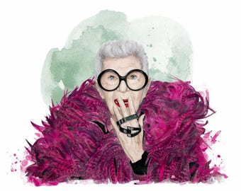 Iris Apfel, print from original watercolor and mixed media fashion illustration by Dena Cooper