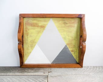 Decorative Tray - Geometric Decor - Gray and Yellow - Bright Fresh Decor
