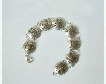 CIJ SALE Antique Coin Bracelet Peruvian Cut Out / Away .900 Silver