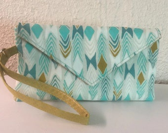 Wristlet Wallet, Clutch Wallet, iPhone Wallet, Fabric Wallet, Turquoise Wristlet, Phone Wallet, iPhone Wristlet, Clutch Bag, Gift for Her