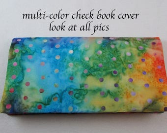 Multi Color Checkbook Cover - Coupon Holder - Blue Red Orange Purple Green Yellow Rainbow Check Book Cover - Buy 3 Get One Free - Gift Idea