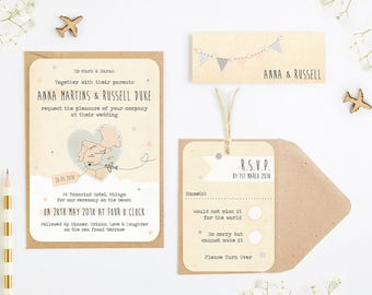Bunting Map Wedding Invitation Bundle - Destination Wedding - Peach Dove Grey Plane