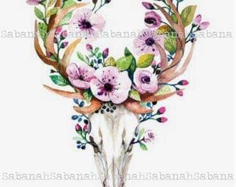 A skull & flowers! printed on fusible transfer paper / Flex on light textile, boho, Bohemian chic design, skull